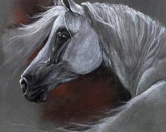 original soft pastel drawing of an arabian horse