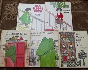 5 Bernard Waber books Lyle Lyle Crocodile, Lovable Lyle, Ira Sleeps Over, Ira Says Goodbye