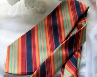 Vintage necktie - men's neckties - wide necktie - Fall colour ties-striped necktie-ties - suit ties -Hardy Amies London tie