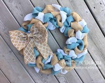 Light Blue Burlap Wreath