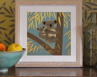 "Koala Print Original Design Animal Alphabet Poster Art Deco Vintage 1930's 1940's Childrens Baby Nursery 7x7"" Square Cute Beautiful Retro"