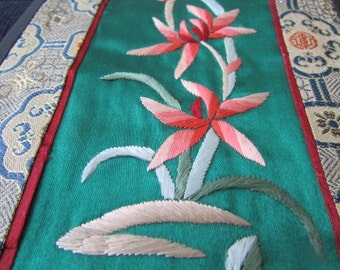 1980'S Embroidered CHINESE SILK floral PANEL Vintage Asian Textiles 11x4.5
