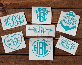 Monogram Decal Bundle; Vinyl Decal Set;  Car Decal; Laptop Decal; Mug Decal