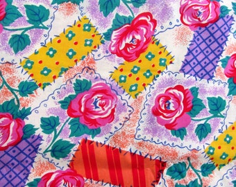 LOOK!    Glorious  Vintage Quilting-Weight Cotton ROSES & PATCHES  Print