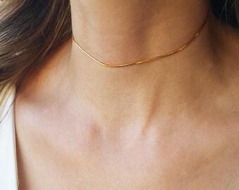 Dainty gold choker, Collar necklace, Gold choker necklace, Layering necklace, Minimal gold necklace, Thin choker necklace, Boho jewelry