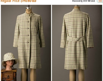 SALE 1960s Cream Wool Coat with Blue and Green Windowpane Pattern with Matching Hat