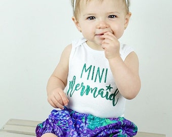 MINI MERMAID Girls Sparkly Glitter Bodysuit, T shirt or Tank top - Any Sparkle Color