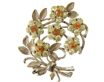 Flower Bouquet Brooch Vintage Rhinestone Brooch Yellow and Orange Rhinestones Flower Brooch Vintage Brooch Rhinestone Flower Pin Brooch Pin