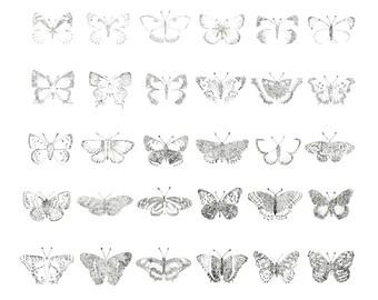 42 Butterflies of North America Stipple Print
