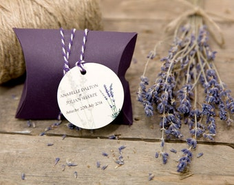 Lavender Pillow Boxes with Personalised Circle Gift Tags (Set of 25)