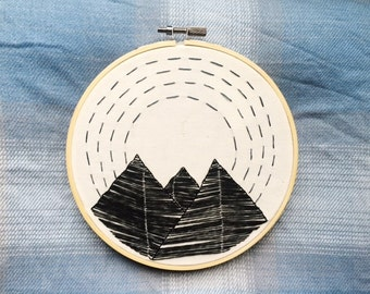 Mountains and Sky Embroidery Hoop Art