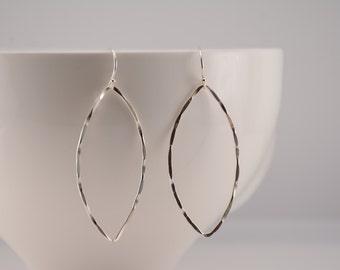 Sterling silver marquise earrings. Marquise earrings