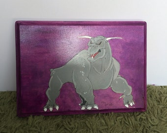 Ghostbusters-Inspired Zuul painting on wood plaque