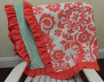 Baby Blanket with Ruffle - Coral Suzani, Mint