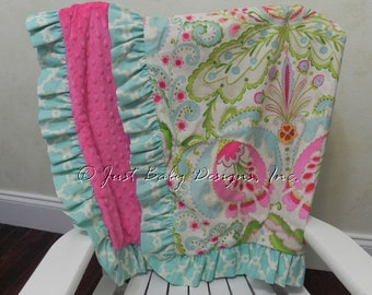 Baby Blanket with Ruffle - Kumari Gardens with Hot Pink Minky Dot