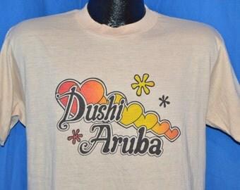 80s Dushi Aruba Heart Sunset Vacation Beige Vintage t-shirt Medium