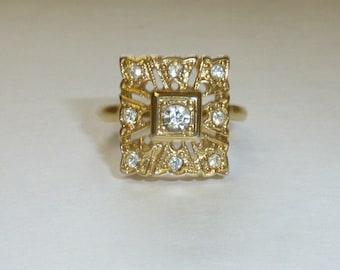 Vintage VARGAS Rhinestone Ring 18KT Gold Electroplate Clear Rhinestone Gold Filigree Size 7.75