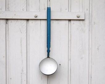 Vintage Blue Enamel Ladle - Enamelware - Shabby Chic Kitchen Decor