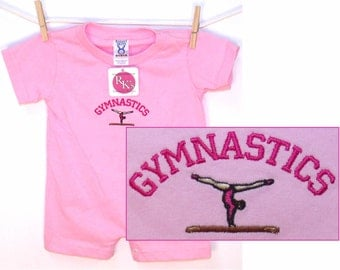 Gymnastics Baby Infant Romper Custom Embroidered Sports Fan Outfit