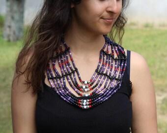 Handmade Bone  Chocker    / Necklace in Purple