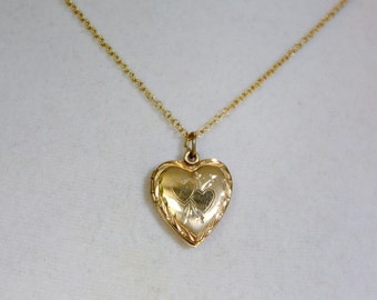 SALE Vintage Gold Filled Heart Locket, Two Hearts Locket, Romantic Gift for Her, NOW 68.00 WAS 80.00