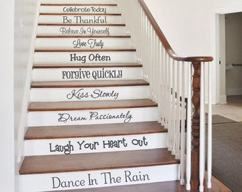 Stair Decals | Words to Live by | Stair Stickers | Family Wall Decals | Inspirational Quotes | Stairway Decals | Vinyl Lettering | Wall Art