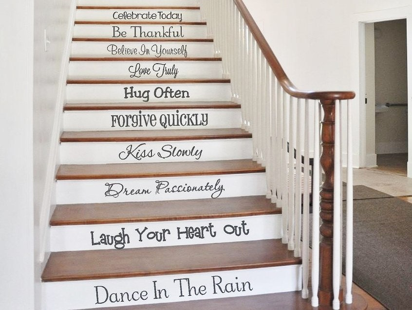 stair decals words to live by stair stickers family wall. Black Bedroom Furniture Sets. Home Design Ideas