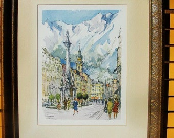 Signed Lithograph Nicely Framed In Innsbruck, European City Signed and Vintage