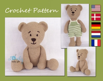 Crochet Pattern, Amigurumi, Crochet Teddy Bear Pattern, CP-129