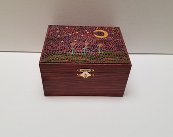 Moonlit Flowers hand painted wooden box