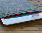 iPad Pro Sleeve - iPad Pro Case - iPad Pro Cover - Mottled Dark Grey and Choice of Inner Colours - 100% Wool Felt