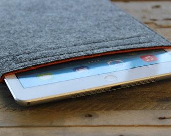 iPad Pro Case / iPad Pro Sleeve / iPad Pro Cover - Mottled Dark Grey and Choice of Inner Colours - 100% Wool Felt