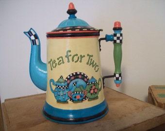 Tea for Two, metal teapot