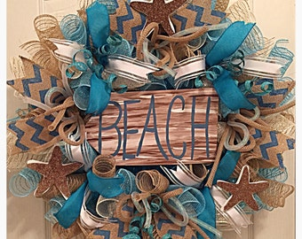 Beach Deco Mesh Wreath/Turquoise, White and Burlap Beach Wreath/Summer Wreath/Starfish Wreath