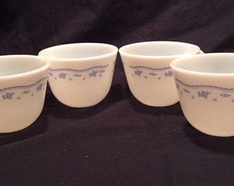 Pyrex 4 Morning Blue cups