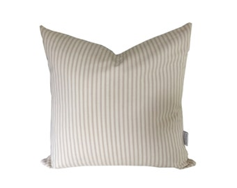 Cushion cover made in vintage ticking natural colour