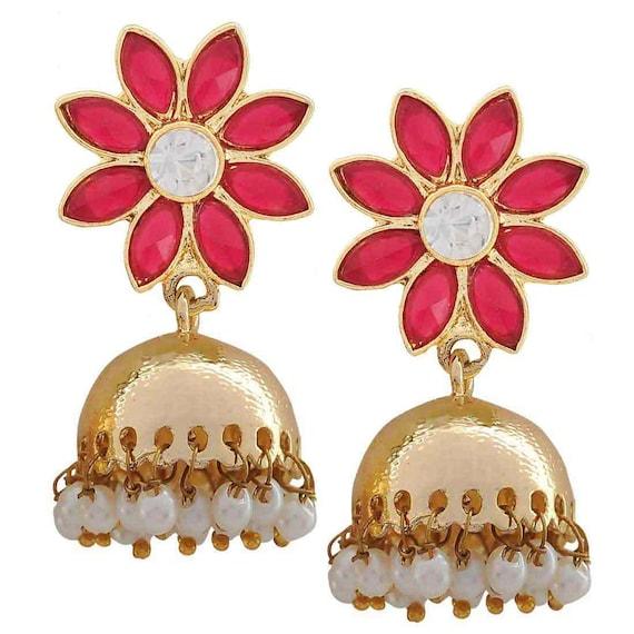 Modern Indian Wedding Jewellery: Indian Wedding Jewelry Modern Crystal Jhumki Earrings Magenta