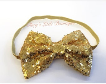 Sparkle Bow, Glitter Bow, Sequin Bow Headband, Gold Headband, Toddler, BabyGirl, Props, Princess, Glitter Headband, Gold and Ivory Headband