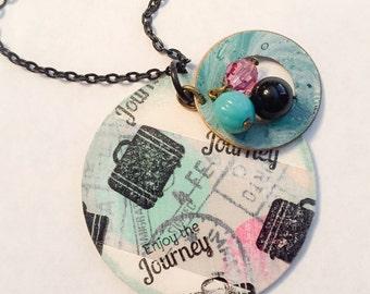 Enjoy the journey, journey, travel jewelry, travel gift, travel necklace, traveling, inspirational jewelry, inspirational, going away gifts