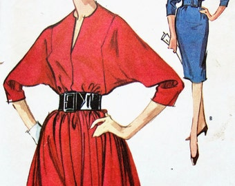 "Vintage 1960s McCalls Dress Sewing Pattern no 6602 Size 12 Bust 32"" Dolman Sleeve Sheath Dress Retro"