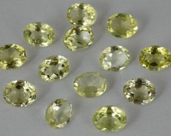 15 Pieces Lot Lemon Quartz Oval Shape Faceted Cut Gemstone
