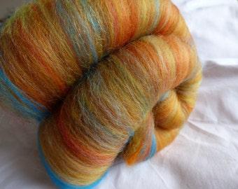 Orange Handcarded Merino Batt for Spinning or Felting - 70g