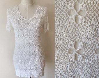 white festival dress // vintage crochet dress  // vintage boho mini dress