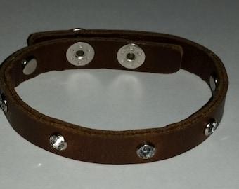Premium BROWN Leather Bling  Faux 7 Diamond Snap Bracelet