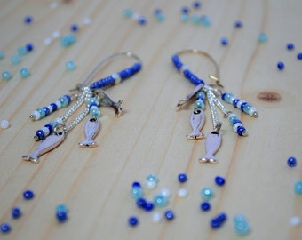 Pearly blue seed beads and earrings blue fish - sardines - sea - was - fine dangling earrings - silver