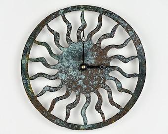 Sun Wall Clock - Tarnished Bronze