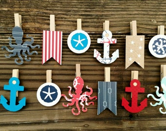 Nautical Clothespins Decoration Seaside Baby Shower Wedding Anchor Pins  Clips Beach Party Favors Octopus Diaper Cake