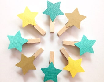 Teal Gold Star Clothespins Baby Shower Decoration Dont Say Baby Game Wedding Midsummers Night Fantasy Party Favor Name Tag Decor Pin Clips