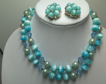 Lisner Turquoise Bead Necklace and Earrings