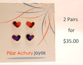 Stud earrings set of 2 pairs -  Sterling Silver Ear Studs - Heart stud set -  Spring -  Valentine's Day - Color combination -Red -  Purple